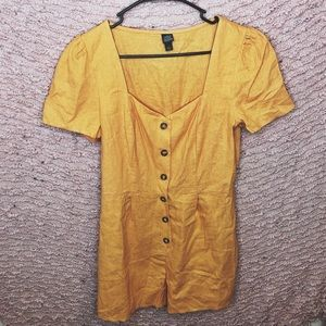 YELLOW BUTTON FRONT ROMPER